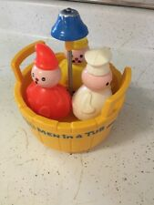 1970 Vintage Fisher Price 3 Three Men In A Tub Toddler Bath Toy Complete Bell