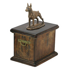 madera maciza Ataúd Doberman cortos CONMEMORATIVO Urna para de perro ashes , con