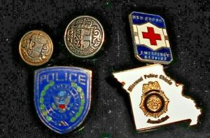 VINTAGE 5 X POLICE RED CROSS BADGES AND BUTTONS