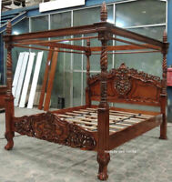 BESPOKE 6' Super King 181x201 mahogany  Wood french rococo style Four poster bed