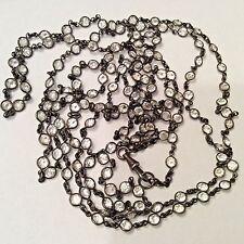 "1800's Gunmetal Open Back bezel set Crystal Muff Chain Necklace 70"" 148 stones"