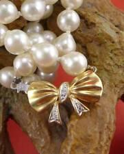 Schöne Perlen Halskette in 585 Gelbgold mit Diamanten