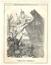 1877 India Begs Queen Victoria for Famine Relief Punch Cartoon `26P