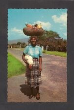 Postcard: Jamaica: Woman Returning From Market w/ Fruit & Live Chicken c.1950s
