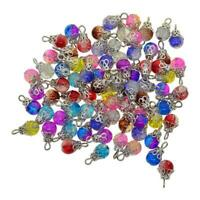 50pcs Bulk Glass Bead Charms Flower Cap Pendants For Jewelry Making Decors Craft