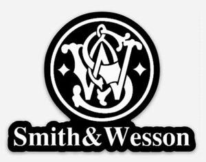 Smith & Wesson Custom Logo Die Cut STICKER for Fridge or Toolbox Firearms Gun