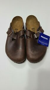 "WOW Brown leather Open CLOGS Shoes 1"" High BIRKENSTOCK Size 9 (39) NWD"