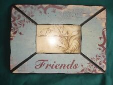 """Vintage Style """"Friends"""" French Country Blue Picture Frame Home Decor 12"""" x 8.5''"""