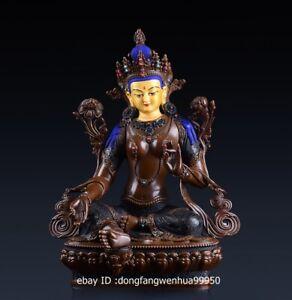 Copper Brass Tibetan Buddhism Green Tara Enlightenment Goddess Buddha Statue A19