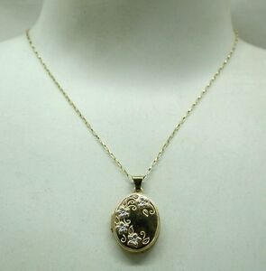 Pretty Two Colour Solid 9ct Gold Floral Design Locket And Chain