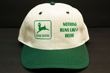 John Deere Nothing Runs Like A Deere Beige Green Baseball Hat Cap Snap Back