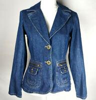 Allison Brittney Womens Jacket Blazer Blue Denim Button Front Zip Pockets Size 4