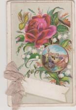 CARTE ANCIENNE de VOEUX /ROSES/MUGUET/RUBAN/Village Méditerranéen /9.8X6.3CM