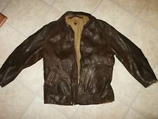 RARE Vintage WWII AERO Leather Flight Jacket Sz. 40 Beacon, NY Label