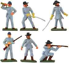Starlux American Civil War 6 C.S.A. Infantry - Painted 60mm Plastic Toy Soldiers