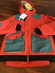 New Obermeyer Gage Teen Big Boys Ski Snowboard Jacket Size Medium Red Teal