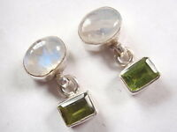 Moonstone and Peridot 925 Sterling Silver Stud Earrings Corona Sun Jewelry