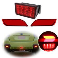 3pc Rear Bumper Reflector Red LED Tail Brake Lamp Kit For Subaru Impreza WRX STi