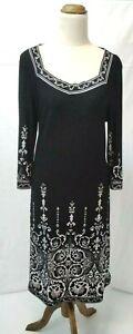 W. Lane Long Sleeve Black w Pattern Dress Size 14, Stretch Fabric, Midi Dress