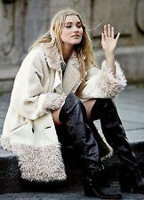 NEW Free People White ivory tan Oversized Faux Fur Jacket Coat M