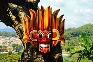 """8""""#Wooden Hand Craved Sri Lankan Traditional Small Fire Mask Wall Hang Home Deco"""