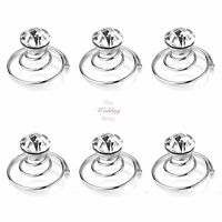 Bridal Wedding Silver Clear Crystal Hair Coils Swirls Spirals Twists Pins HP17
