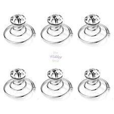 Boda nupcial Plata Transparente Crystal Cabello bobinas remolinos Espirales giros Pins Hp17