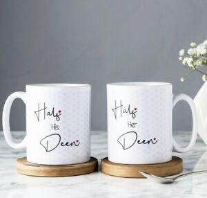 Half His & Her Deen Mug set of 2 Gift Nikaah Walimah Wedding islamic present eid