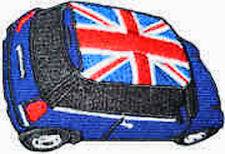 Iron On/ Sew On Embroidered Patch Badge Mini Union Jack Roof Cooper Blue