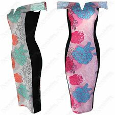 NEW WOMEN LADIES BARDOT OFF SHOULDER FLORAL PRINT DRESS SLIMMING EFFECT BODYCON