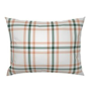 Plaid Tartan Nursery Coral Pink Checked Pillow Sham by Roostery