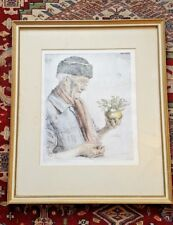 "Prof. PAUL GEISSLER Original 1951 Hand Colored Etching ""Self Portrait"" Listed"