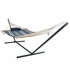 Hammock Cotton Rope Patio Garden Furniture 15 Foot Wheels Steel Stand Oversized