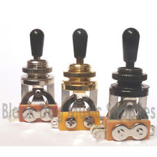Guitar 3-way Toggle Switch, in Chrome, Black, or Gold. Electric, Rhythm, Treble