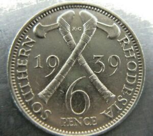 Southern Rhodesia Sixpence 1939 much lustrous AU-UNC.  Rare grade for year.