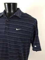 Nike Dri Fit Tiger Woods Mens Extra Large XL Polo Golf Shirt Stripe Blue White