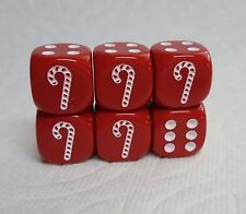 DICE -16mm CANDY CANES BACK IN STOCK!, SET OF *6* ON OPAQUE RED w/WHITE! SWEET!