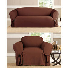 Bundle 2 Piece Sofa & Chair Micro-Suede Slipcover, Furniture Covers, 6 Colors