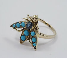 ESTATE 50's SOLID 14K GOLD TURQUOISE & SAPPHIRE COCKTAIL BEE RING sz 7 ~ 4.7 g