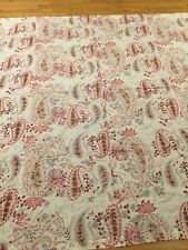 Pottery Barn Pink Tan And Gray Floral Paisley On White Shower Curtain,72X72,Euc