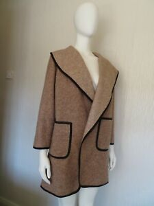 Vgc M&S COLLECTION SMALL PETITE JACKET COAT BROWN WOOL MIX WRAP CAPE