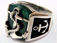 Anchor 3D Grüner Achat Aqeeq Edelstein Solide 925 K Sterling Silber Herren Ring