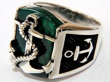Anchor 3D Green Agate Aqeeq Gemstone Solid 925 K Sterling Silver Mens Ring