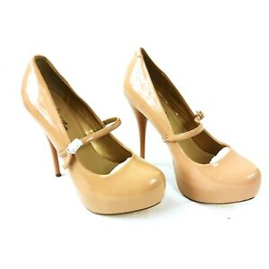 Ladies Mary J Platform Heel Shoes Beige Size UK 7