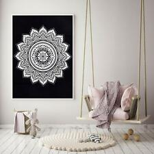 Tapestry Black Gad Flower Ombre Mandala bohemian Poster Small Decor Wall Hanging