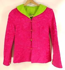 "Gorgeous Reversible Womens Asian Jacket Silky Bright Pink & Green - 18"" chest Sm"