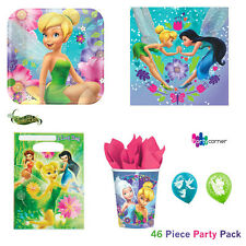 TINKERBELL PARTY SUPPLIES PARTY PACK 46 PC PLATES, NAPKINS, LOOT BAGS, BALLOONS