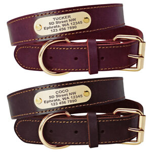 Genuine Leather Dog Collar Small Large Dogs Personalized ID Name Tag Collar S-L