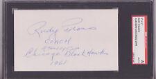 RUDY PILOUS BLACKHAWKS SIGNED 3 X 5 INDEX CARD HOCKEY HOF SGC SLAB DECEASED 1994