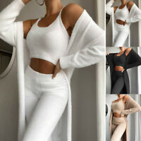 Women Fluffy Tracksuit Set Long Cardigan Cropped Vest Tops Pants Loungewear Suit